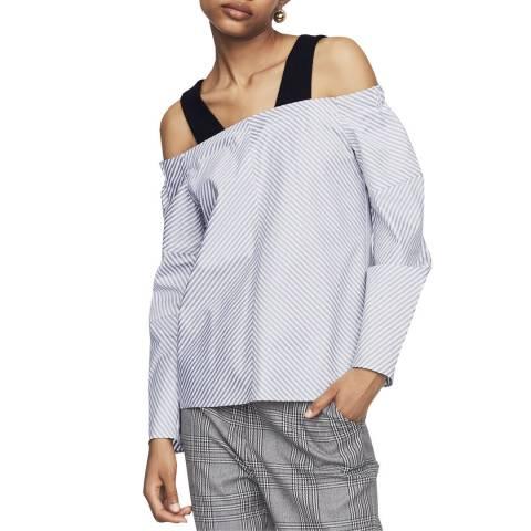 MAJE Multi Stripe Bardot Cotton Shirt