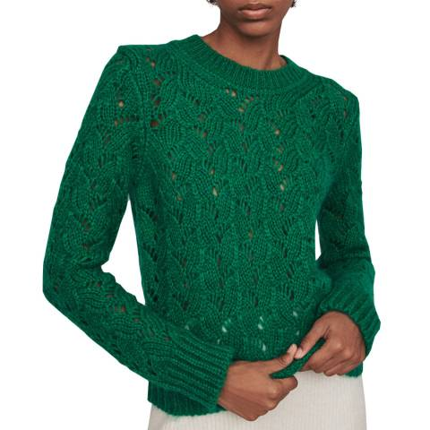 MAJE Green Monou Open Stitch Jumper