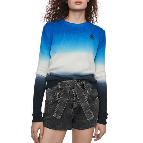MAJE Blue/Multi Ombre Wool Blend Jumper