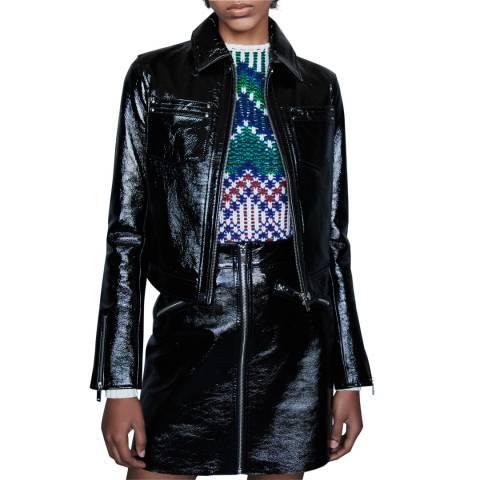 MAJE Black Baptiste Patent Leather Jacket