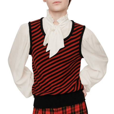 MAJE Black/Red Maela Stripe Knit Vest