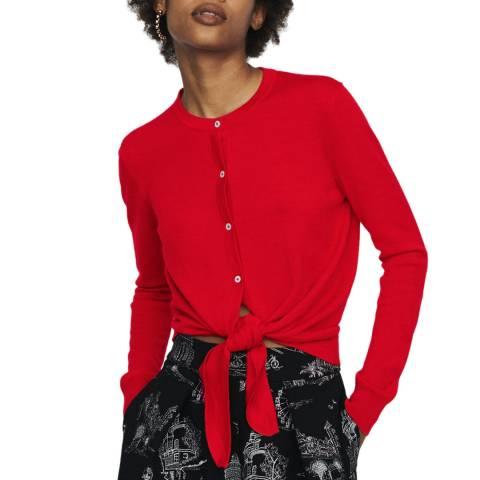 MAJE Red Tie Hem Wool Cardigan