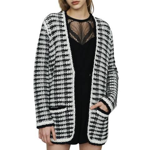 MAJE Black/White Tweed Knit Cardigan