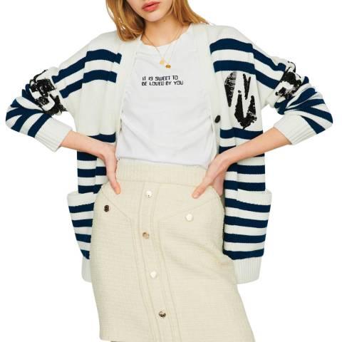 MAJE Cream/Navy Stripe Wool Blend Cardigan