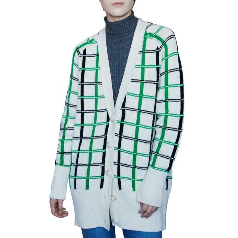 MAJE Cream/Multi Check Knit Wool Blend Cardigan