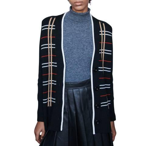 MAJE Multi Mada Check Stitch Wool Blend Cardigan