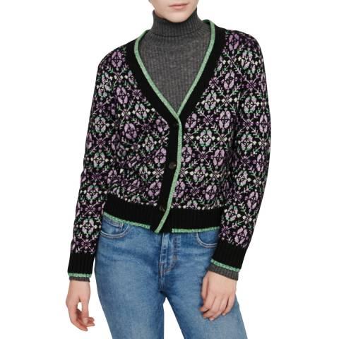 MAJE Black/Multi Modern Metallic Knit Cardigan