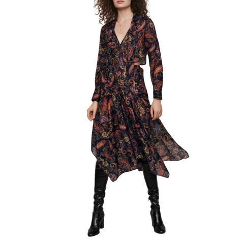 MAJE Navy Rista Midi Cotton Dress