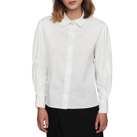 MAJE White Embellished Button Cotton Blouse
