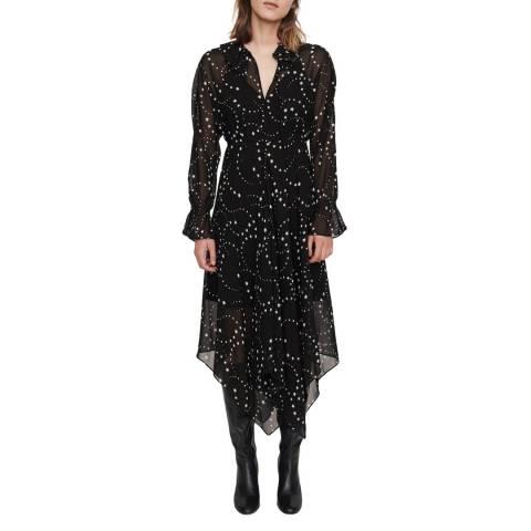MAJE Black Retro Midi Dress