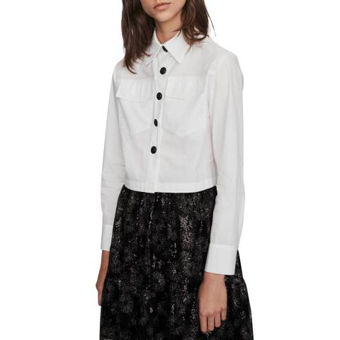 MAJE White Cecile Pocket Cotton Shirt