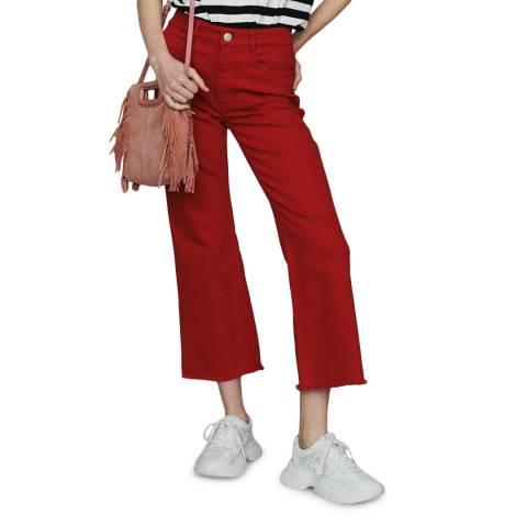 MAJE Red Raw Hem Wide Stretch Jeans