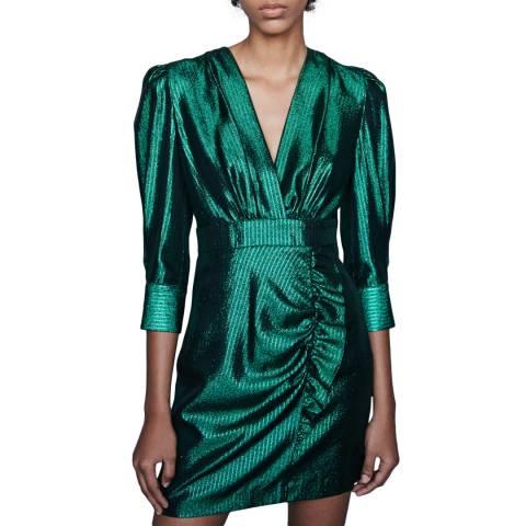 MAJE Green Rexy Metallic Dress