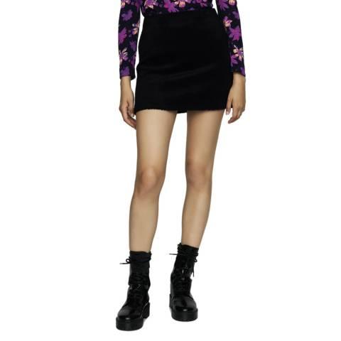 MAJE Navy Textured Wool Blend Skirt
