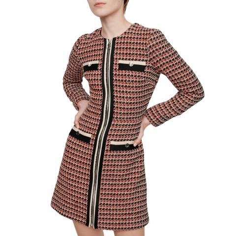 MAJE Red Romane Cotton Blend Tweed Dress