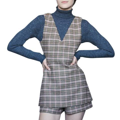 MAJE Beige Irilo Check Playsuit