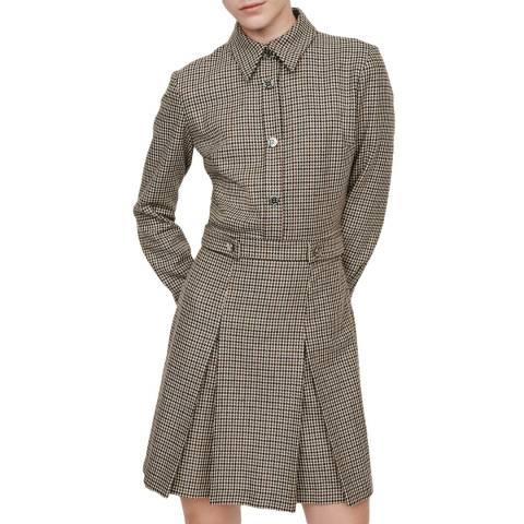 MAJE Grey Regor Dogtooth Shirt Dress