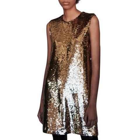 MAJE Gold Ror Sequin Dress