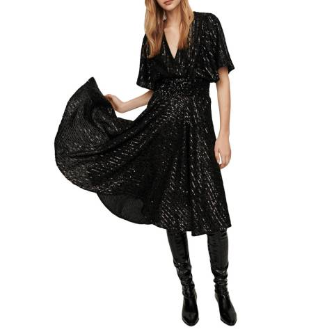 MAJE Black Ring Sequin Dress