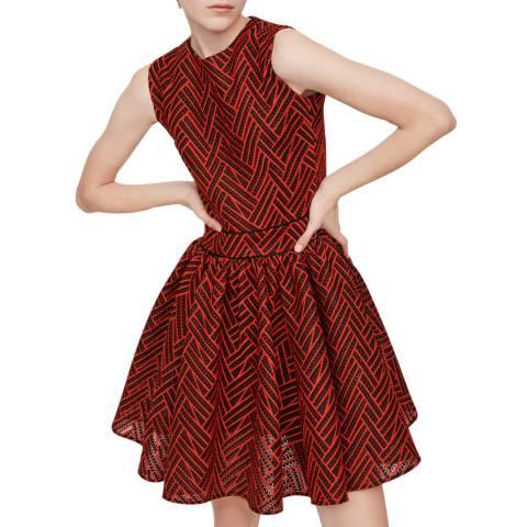 MAJE Red Reali Flared Dress