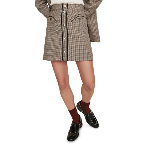 MAJE Brown Joldi Dogtooth Skirt