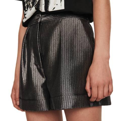 MAJE Grey Ilery Metallic Shorts