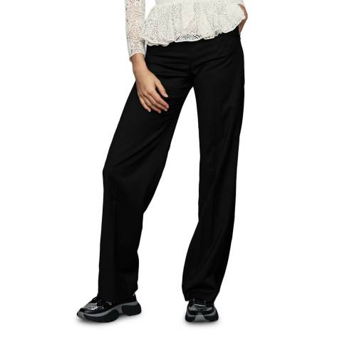 MAJE Black Wide Wool Blend Trousers