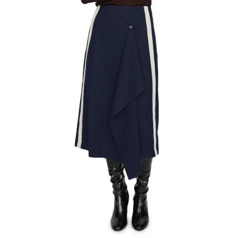 MAJE Navy Jidaia Ribbed Midi Skirt