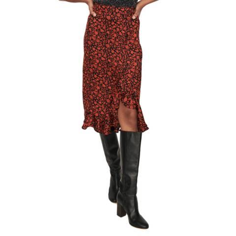 MAJE Red Javie Floral Midi Skirt