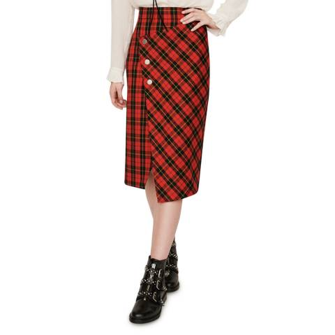 MAJE Red Janity Wrap Check Skirt