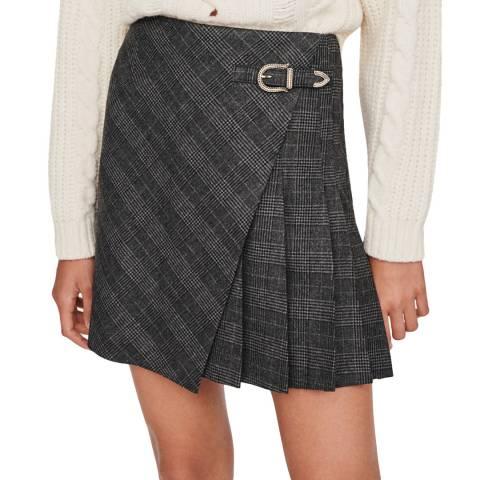MAJE Grey Jinda Pleated Mini Skirt