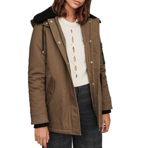 MAJE Khaki Groopy Hooded Cotton Blend Coat
