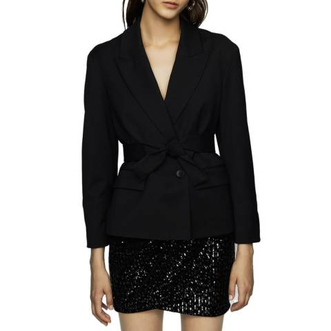MAJE Black Wrap Belt Jacket