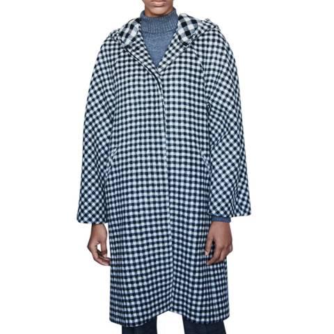 MAJE Black/Multi Goga Check Wool Blend Coat