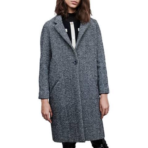 MAJE Grey Gedeon Textured Wool Blend Coat