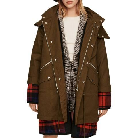 MAJE Khaki Gapo Cotton Coat
