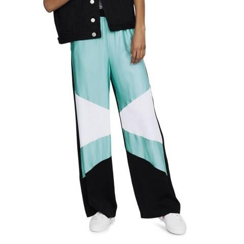 MAJE Black/Multi Printed Wide Trousers