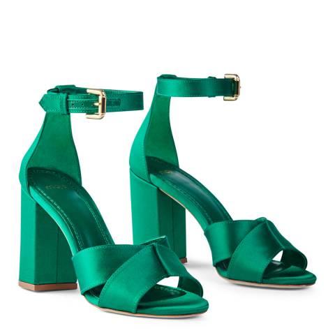 MAJE Green Forigama Satin Platform Sandal