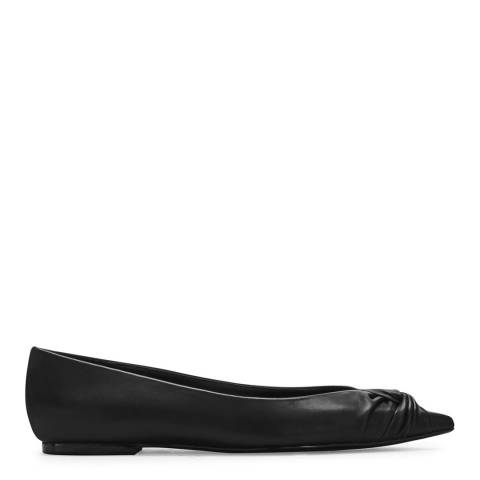MAJE Black Flat Draped Leather Ballerina Pump
