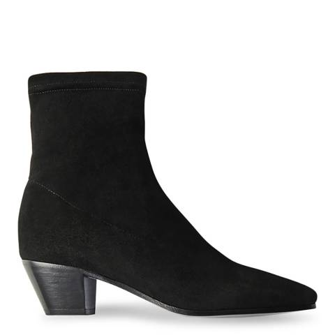 MAJE Black Fliko Stretch Suede Ankle Boot