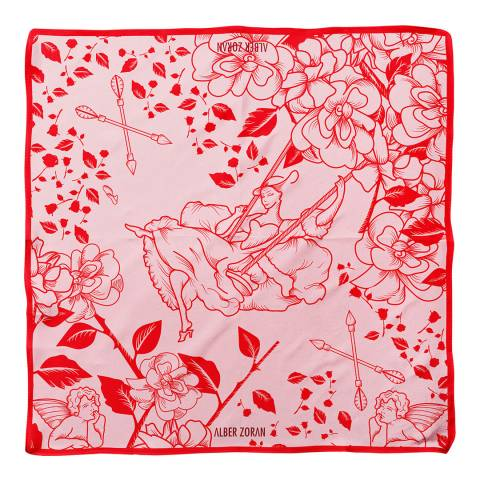 Alber Zoran Pink/Red Baroque/Floral Printed Scarf