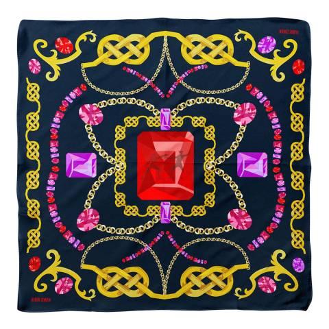 Alber Zoran Multi Jewel/Chain Printed Scarf
