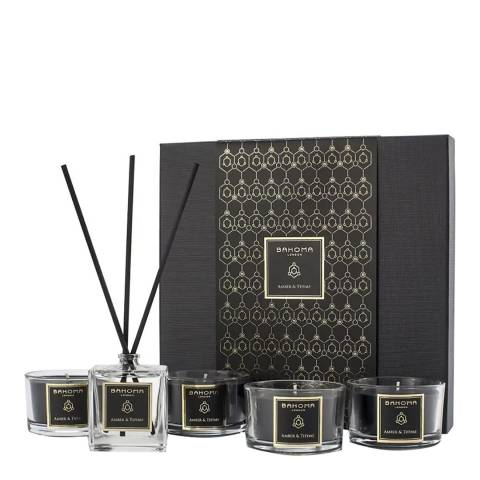Bahoma Amber & Thyme 4 Travel Candles & 50ml Reed Diffuser