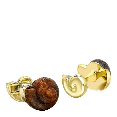 Theo Fennell 18ct Yellow Gold Petrified Wood Snail Cufflinks