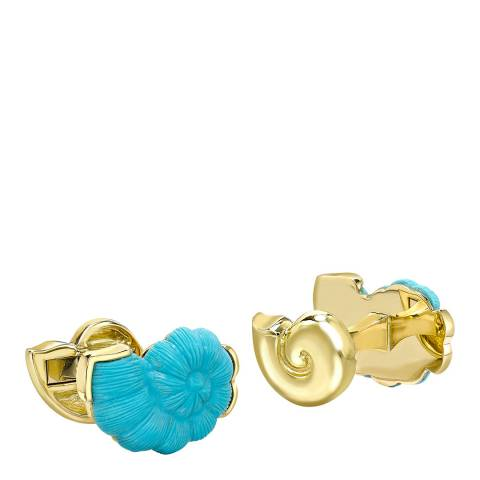 Theo Fennell 18ct Yellow Gold Turquoise Snail Cufflinks
