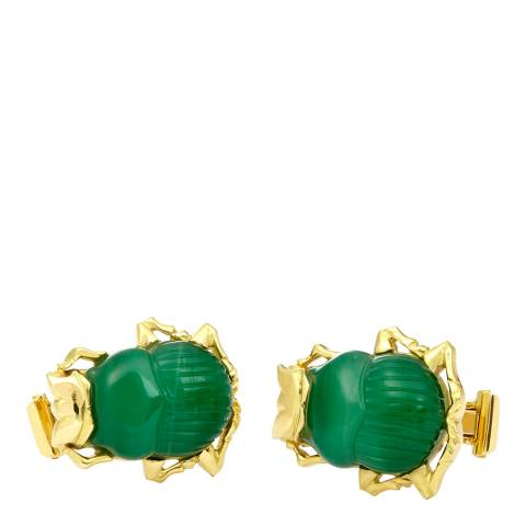 Theo Fennell 18ct Yellow Gold Carved Prasem Scarab Beetle Cufflinks