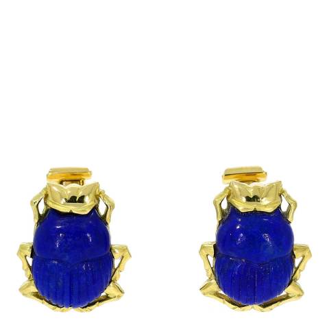 Theo Fennell 18ct Yellow Gold Carved Lapis Scarab Beetle Cufflinks