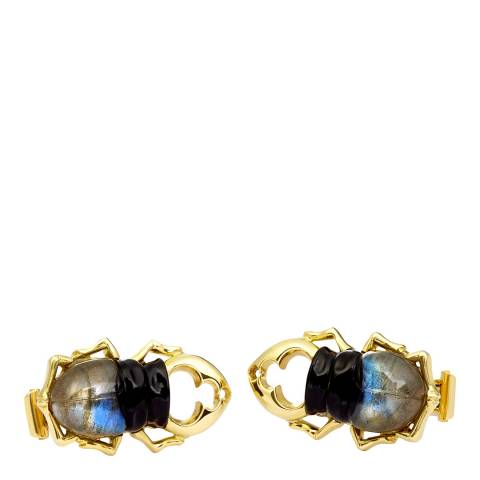 Theo Fennell 18ct Yellow Gold Carved Onyx Labradorite Stag Beetle Cufflinks