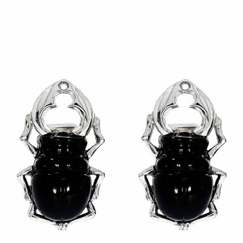 Theo Fennell 18ct White Gold Carved Onyx Stag Beetle Cufflinks