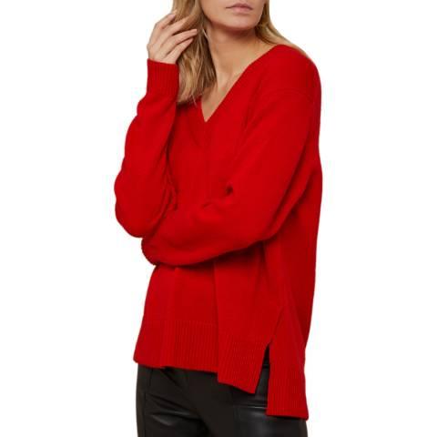 N°· Eleven Red Cashmere Vee Neck Jumper